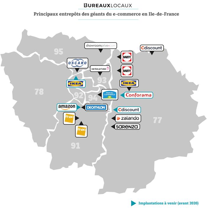 les entrepôts des géants du e-commerce en Île-de-France