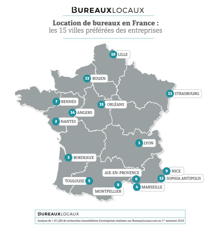 Bureaux : les métropoles préférées des entreprises françaises
